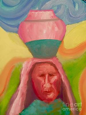 Painting - Native American Womand And Water Jug by Mark Macko