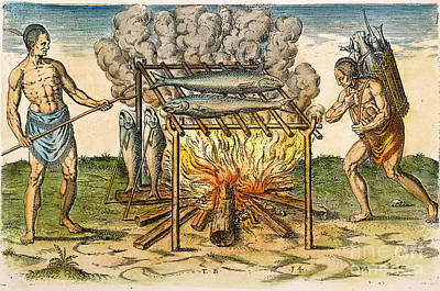 Native Americans: Barbecue, 1590 Art Print by Granger