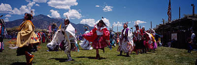Pow Wow Photograph - Native Americans Dancing, Taos, New by Panoramic Images
