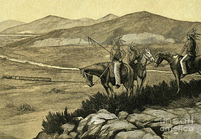 Native American War Horse Painting - Native Americans Watching A Locomotive Traverse The American West by American School
