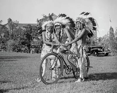 Native Americans With Bicycle Art Print