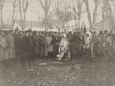 Native Americans With Representative Of The French Army Art Print