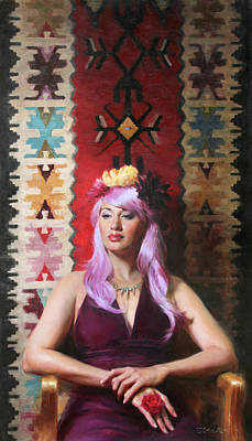 Navajo Painting - Native Daughter Modern Woman by Anna Rose Bain