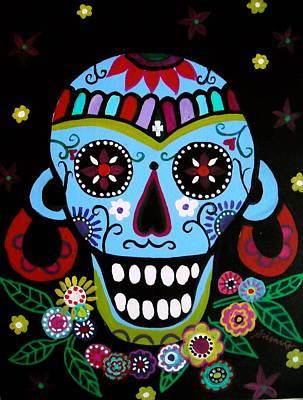 Print featuring the painting Native Dia De Los Muertos Skull by Pristine Cartera Turkus