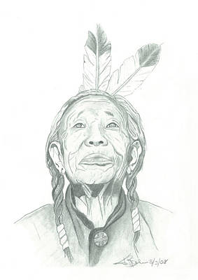 Drawing - Native Elder by American Horse