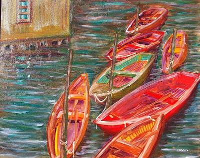 Painting - Native Fishing Boats by Vic Delnore