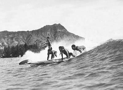 Diamond Head Photograph - Native Hawaiians Surfing by Underwood Archives