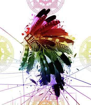 Hawk Digital Art - Native Headdress 2 by Bekim Art