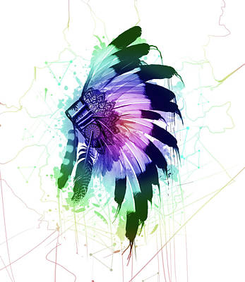 Native Art Digital Art - Native Headdress by Bekim Art