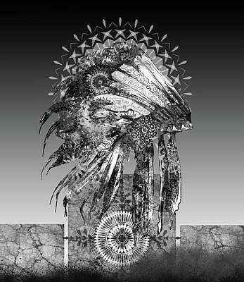 Digital Art - Native Headdress Black And White 2 by Bekim Art