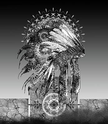 Native Art Digital Art - Native Headdress Black And White 2 by Bekim Art