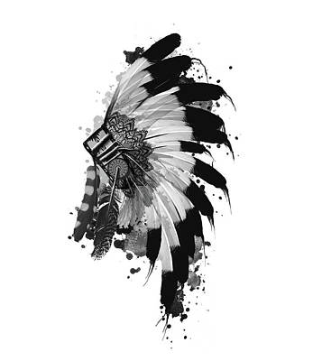 Hawk Digital Art - Native Headdress Black And White by Bekim Art