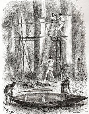 Native Drawing - Native Indians Building A Canoe by Vintage Design Pics