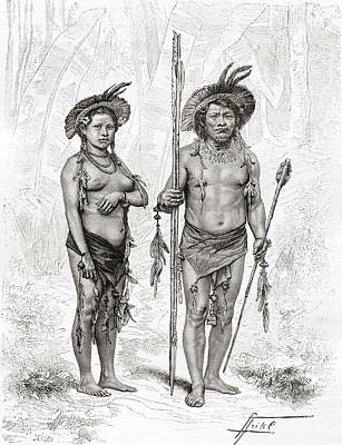 Native Drawing - Native Indians From Rio Branco, South by Vintage Design Pics