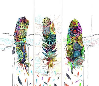 Native Art Digital Art - Native Mandala Feathers 4 by Bekim Art