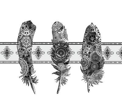 Hawk Digital Art - Native Mandala Feathers 5 by Bekim Art