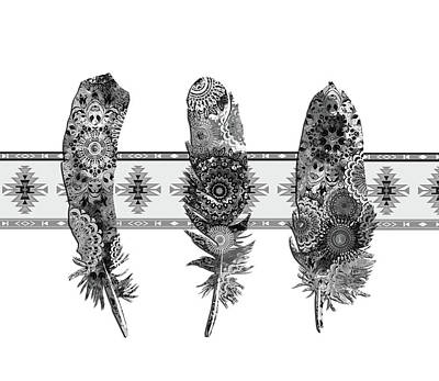 Native Art Digital Art - Native Mandala Feathers 5 by Bekim Art