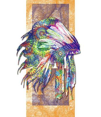 Hawk Digital Art - Native Mandala Headdress 3 by Bekim Art