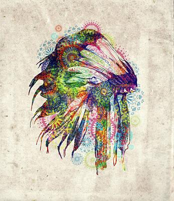 Hawk Digital Art - Native Mandala Headdress 4 by Bekim Art
