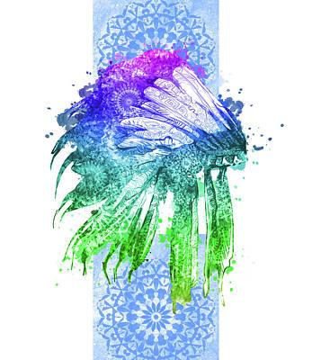 Hawk Digital Art - Native Mandala Headdress 5 by Bekim Art