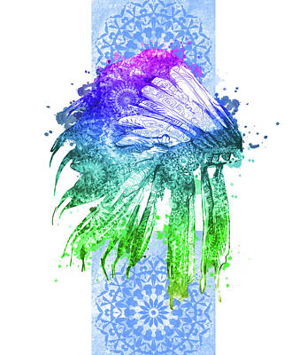 Native Art Digital Art - Native Mandala Headdress 5 by Bekim Art