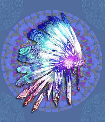 Hawk Digital Art - Native Mandala Headdress by Bekim Art