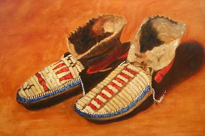 Rawhide Painting - Native Moccasins  by Keith Nolan