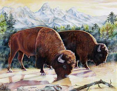 Bison Painting - Native Nobility by Heidi Parmelee-Pratt