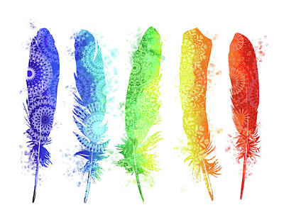 Native Art Digital Art - Native Rainbow Feathers by Bekim Art