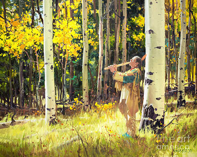 Park Scene Painting - Native Sound In The Forest by Gary Kim