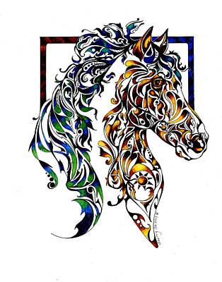 Zen Tangle Drawing - Native Spirit by Sherry Shipley
