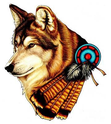 Pencil Native American Drawing - Native Spirit by Sheryl Unwin