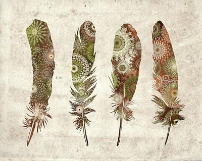 Native Art Digital Art - Native Vintage Feathers by Bekim Art