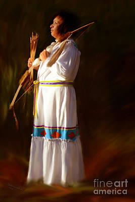 Indian Cherokee Digital Art - Indian Peace Warrior by Constance Woods