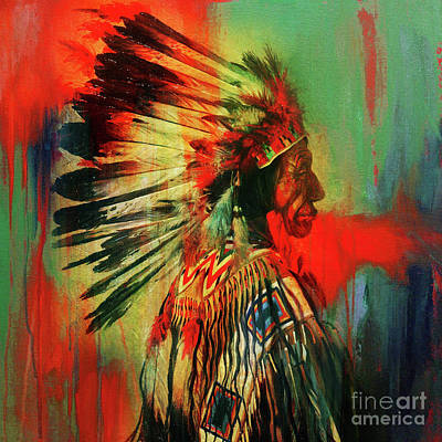 Indian Tribal Art Painting - Native Warriors by Gull G