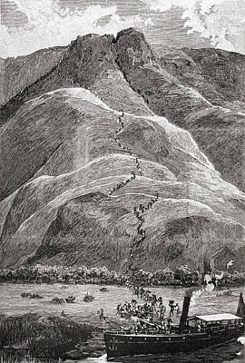 Native Drawing - Natives Climbing The Plateau Slopes At by Vintage Design Pics
