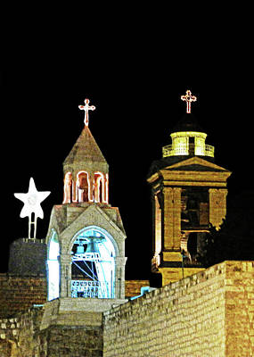 Black Light Paint Photograph - Nativity Church Lights by Munir Alawi