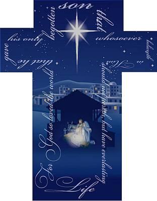Manger Mixed Media - Nativity Cross by Elizabeth Mix