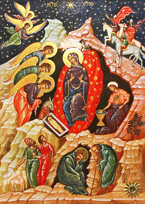Nativity Icon Art Print by Munir Alawi
