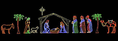 Photograph - Nativity Lights by Munir Alawi