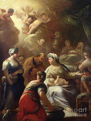 Joseph And The Angel Painting - Nativity by Luca Giordano