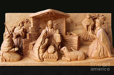Photograph - Christmas Creche On Black By George Wood by Karen Adams