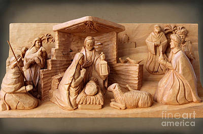 Photograph - Nativity On Brown Paper By George Wood by Karen Adams
