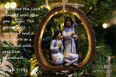 Photograph - Nativity Ornament Isaiah Seven Fourteen by Jennifer White