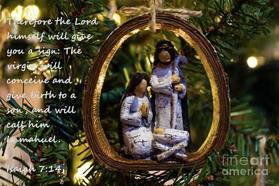 Photograph - Nativity Ornament Isaiah Seven Fourteen by Jennifer White