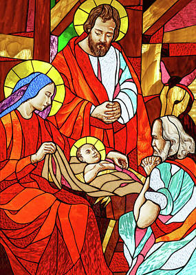 Painting - Nativity Prayer by Munir Alawi
