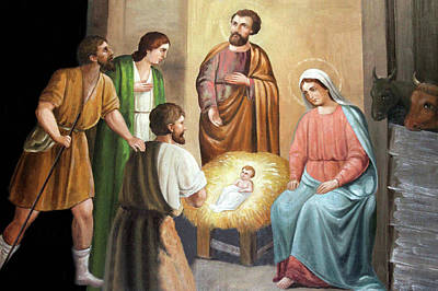 Photograph - Nativity Scene Painting At Nativity Church by Munir Alawi