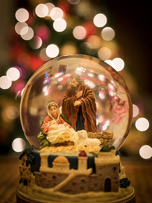 Nativity Scene Snow Globe Art Print by AMB Fine Art Photography
