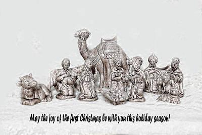 Nativity Scenne Sketch Art Print by Linda Phelps
