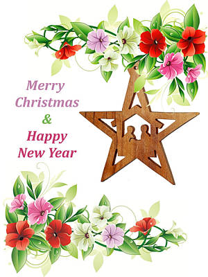 Olive Wood Photograph - Nativity Star Ornament by Munir Alawi
